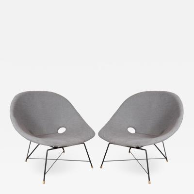 Augusto Bozzi Pair of steel frame chairs by Augusto Bozzi for Fratelli Saporiti