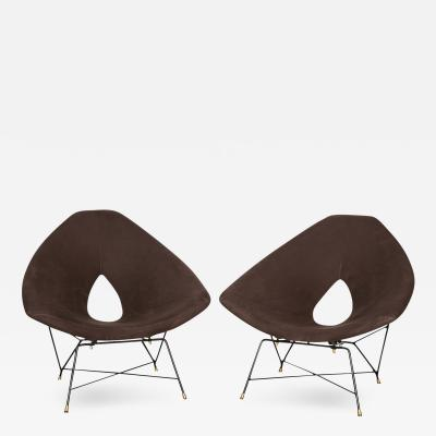 Augusto Bozzi Rare Pair of Etere Lounge Chairs by Augusto Bozzi for Saporiti