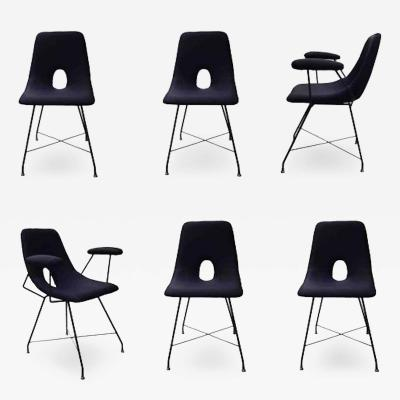 Augusto Bozzi Rare Set of Six Dining Chairs Model Cosmos by Augusto Bozzi for Saporiti