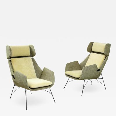 Augusto Bozzi Rare pair of Lounge Chairs by Augusto Bozzi for Saporiti