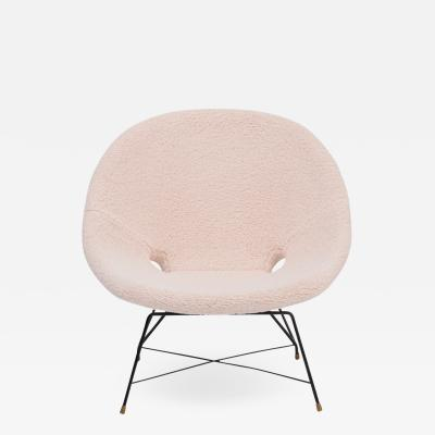 Augusto Bozzi Reupholstered Italian Mid Century Modern chair by Augusto Bozzi for Saporiti