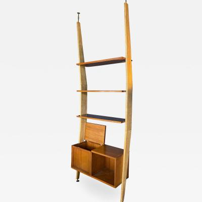 Augusto Romano Augusto Romano Walnut and Brass Bookcase Italy 1950s