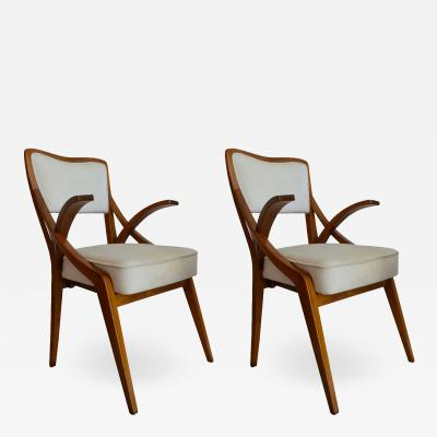 Augusto Romano Pair of 1950s Armchairs attributed to Augusto Romano