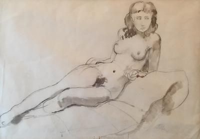 Augustus John Nude Study Pencil and Wash on Paper