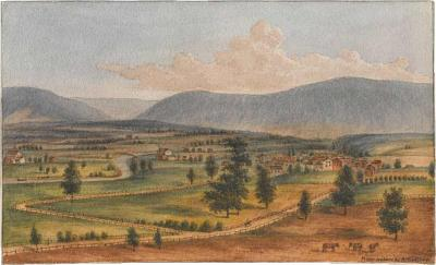 Augustus Kollner View of Hamburg Pennsylvania at the Base of the Blue Mountains