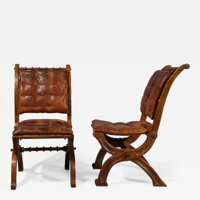 Augustus Welby Northmore Pugin A Pair of English Oak Folding Chairs in the Style of A W N Pugin Circa 1860