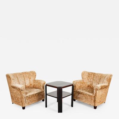 Austrian Art Craft Company Art Deco Macassar veneer armchairs and coffee table from Austria 1930s