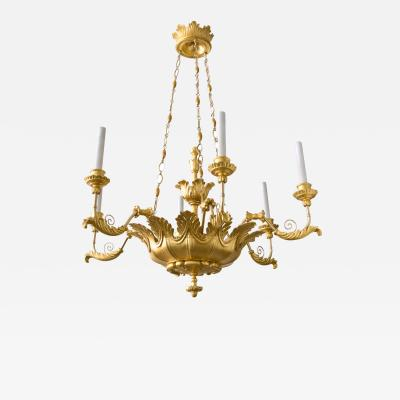 Austrian Biedermeier Gilt Wood Chandelier