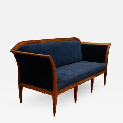 Austrian Biedermeier Sofa In Blue Velvet