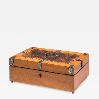 Austrian Burlwood and Cherry Box Adorned with Facetted Steel