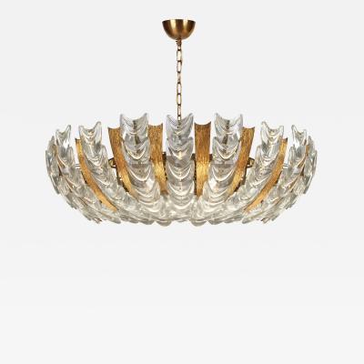 Austrian Gilt Textured Brass and Glass Chandelier