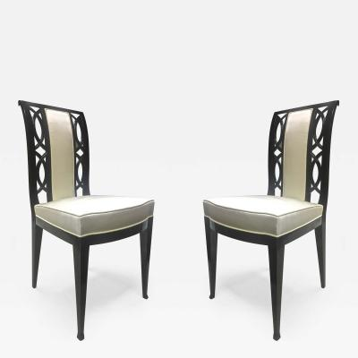 Austrian Refined Black Lacquered Chairs Covered in Silk