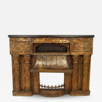 Austrian Secessionist Embossed Brass Fireplace