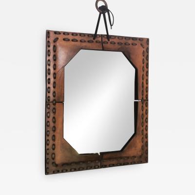 Authentic Italian Leather Mirror 1970s