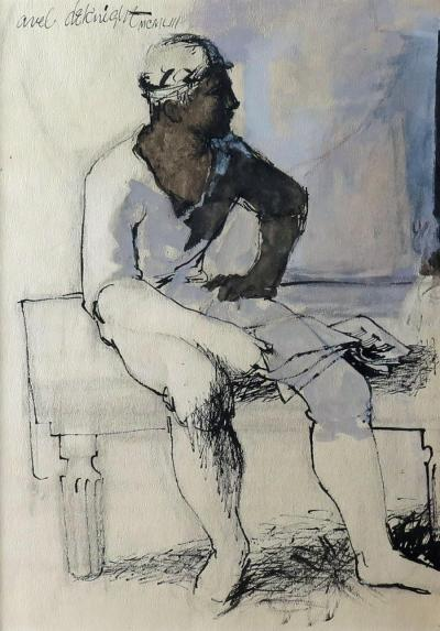 Avel C deKnight Seated Figure with Musical Score