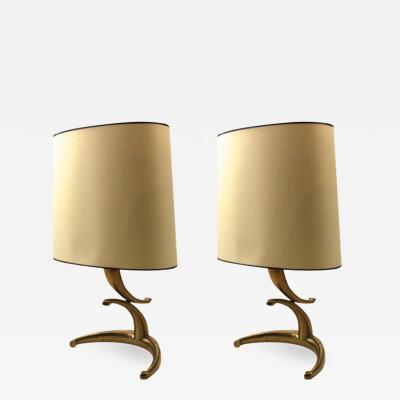Awesome pair of gold bronze banana shaped table lamps