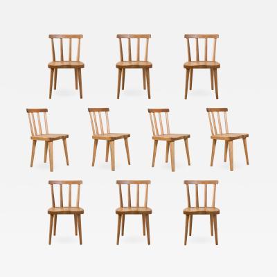 Axel Einar Hjorth Axel Einar Hjorth for Nordiska Kompaniet A Set of 10 Swedish Pine Ut Chairs
