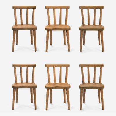 Axel Einar Hjorth Axel Einar Hjorth for Nordiska Kompaniet Set of 6 Solid Pine Ut Chairs