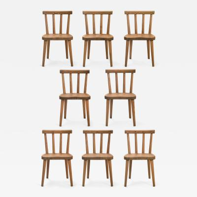 Axel Einar Hjorth Axel Einar Hjorth for Nordiska Kompaniet Set of 8 Ut Pine Chairs