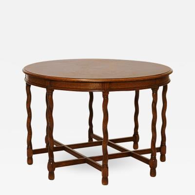 Axel Einar Hjorth Deco Renaissance Style Table in Oak Attributed to A E Hjorth