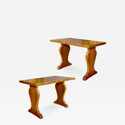 Axel Einar Hjorth Pair of Lov side tables with baluster piers in pine by Axel Einar Hjorth