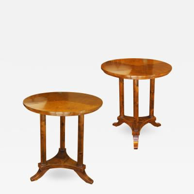 Axel Einar Hjorth Pair of Round Side Tables in Birch Attributed to Axel Einar Hjorth
