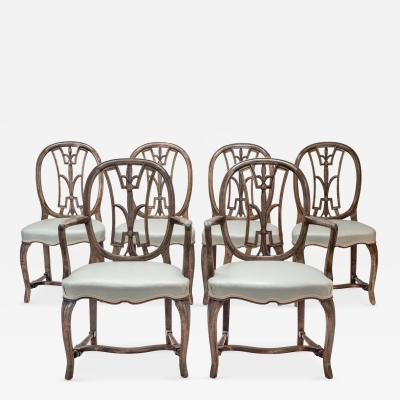 Axel Einar Hjorth Set of 6 Swedish Grace Chairs including 4 Side and 2 Arm Chairs