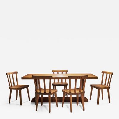Axel Einar Hjorth Six Axel Einar Hjorth Ut Dining Chairs with Lov Table Sweden 1930s