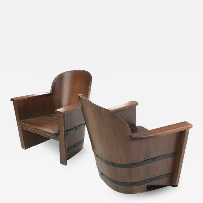 Axel Einar Hjorth attributed pair of barrel organic arm chairs