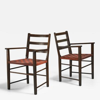 Axel Larsson Axel Larsson Pair of Webbed Armchairs for Gemla Sweden 1930s
