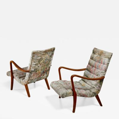 Axel Larsson Pair of Axel Larsson Lounge Chairs Bodafors Sweden 1940s