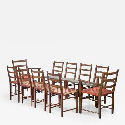 Axel Larsson Set of 10 dining chairs by Gemla Di Sweden