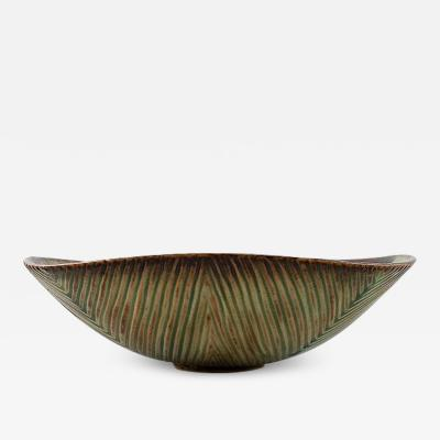 Axel Salto Bowl of stoneware in ribbed style Exterior modeled with grooved pattern