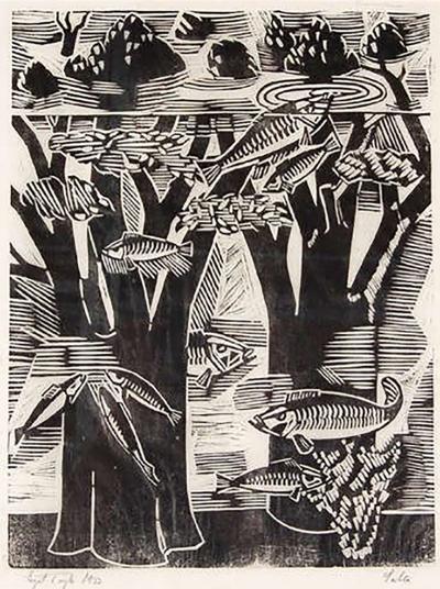Axel Salto Early 1933 Original Woodcut by Axel Salto