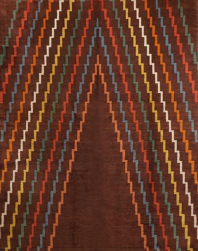 Aztec Design Geometrical Wool Rug circa 1940s