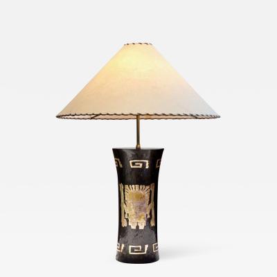 Aztec Motif Table Lamp Cusco Peru 1960s