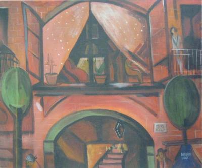 B la K d r Painting Oil Street Scene Signed Bela Kadar