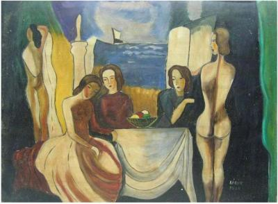 B la K d r Painting Seated Women with Nudes Signed Bela Kadar Hungary 1877 1955