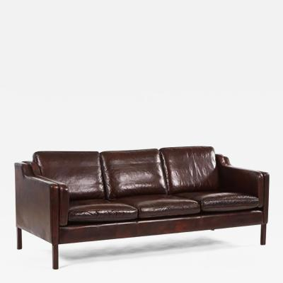 B rge Mogensen A Dark Brown Leather Borge Mogensen Sofa