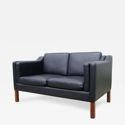 B rge Mogensen Black Leather Danish Settee in the Style of Borge Mogensen