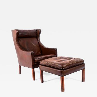 B rge Mogensen Borge Mogensen Leather Lounge Chair and Ottoman