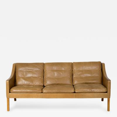 B rge Mogensen Borge Mogensen Model 2209 Three Seat Leather Sofa