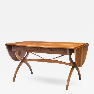 B rge Mogensen Danish Teak and Beech Drop Leaf Desk Table