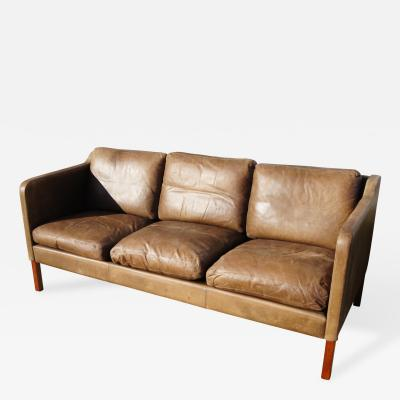 B rge Mogensen Danish Three Seat Leather Sofa in the Style of B rge Mogensen