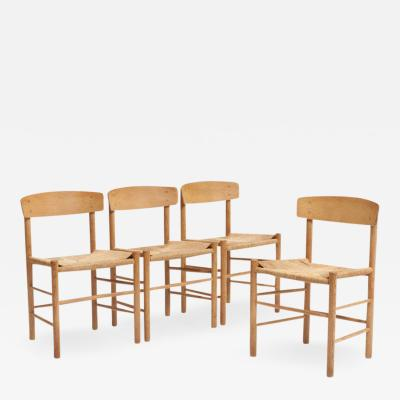 B rge Mogensen Four B rge Mogensen J39 Peoples Chair in Wood and Handwoven Paper Cord Seat