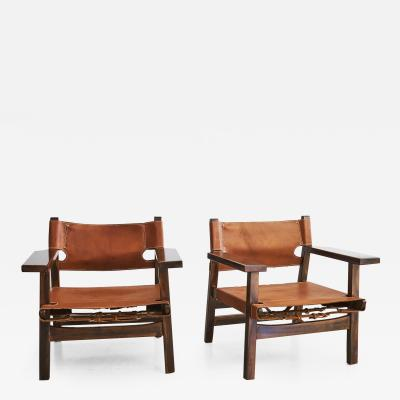 B rge Mogensen Leather Campaign Chairs