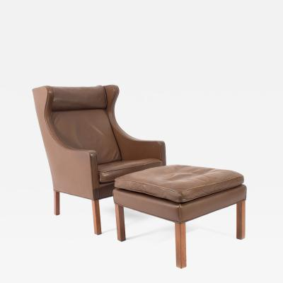 B rge Mogensen Leather Lounge Chair and Ottoman by Borge Mogensen