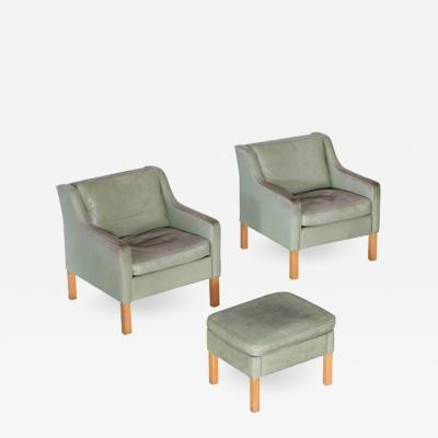 B rge Mogensen Pair of Armchairs by Borge Mogensen in Mint Green Leather
