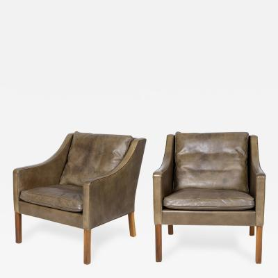 B rge Mogensen Pair of B rge Mogensen Model 2207 Leather Lounge Chairs