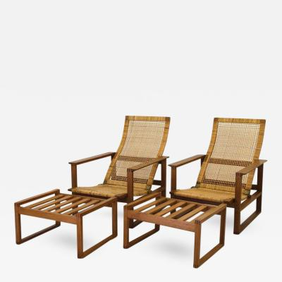 B rge Mogensen Pair of Oak Cane Lounge Chairs by B rge Mogensen for Fredericia Stolefabrik